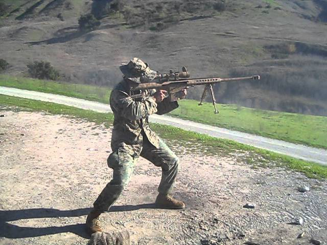 Marine Shooting SASR from the Standing (.50 Cal - Barrett)