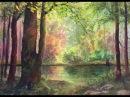 Cолнечный лес, интересная техника. Акварель. Sunny forest, interesting tecnique
