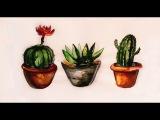 РИСУЕМ_КАКТУСЫ_Акварелью Watercolour Cactus_РИСОВАШКИ
