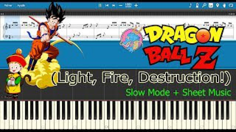 Light, Fire, Destruction! - Dragon Ball Z Opening [Slow Sheet Music] (Piano Tutorial)
