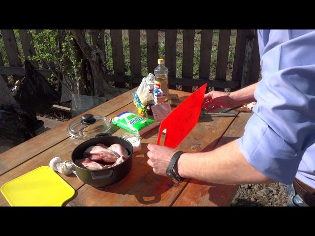 Рецепт аппетитной курицы на углях в очаге..плюс авторский соус