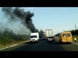 Горит фура близ Луганского в Красноармейском районе Саратовской области. Утро 1 сентября.