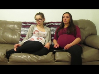 Pregnant twin 9 months  6 months show huge belly on livingroom