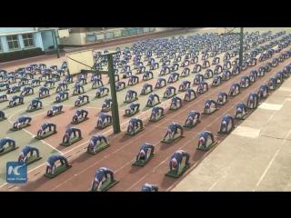Утренняя зарядка от китайских школьников из города Цзинань