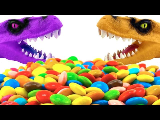 Динозавр ищет сюрпризы с животными Dinosaur is looking for surprises with animals