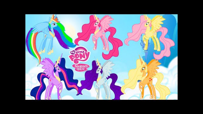 MY LITTLE PONY Transforms MANE 6 into Alicorn Princess MLP Coloring Videos for Kids