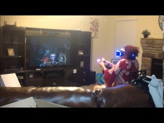 Grandma playing Playstation VR freaking out!