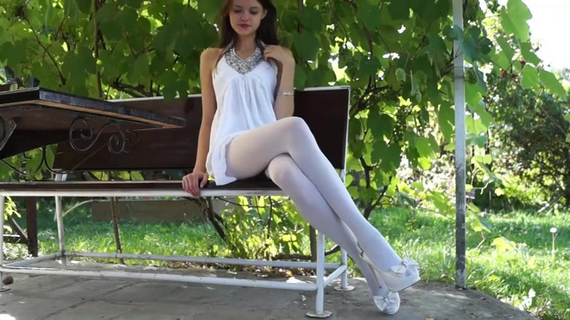 A Beauty in White Dress, Heels and Opaque Pantyhose