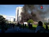 Рейсовый автобус горит на юго-западе Москвы