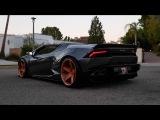Liberty Walk Lamborghini Huracan Spyder w Fabspeed exhaust! Aventador shooting flames and more!