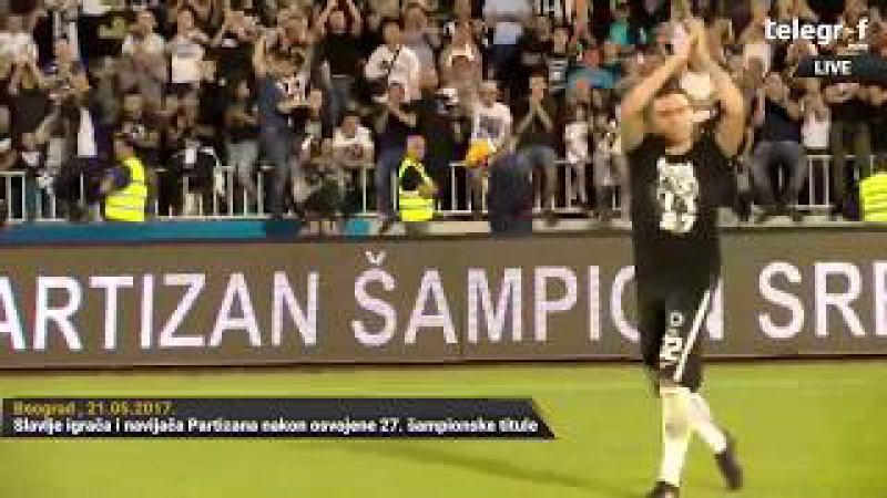 Uživo sa terena! Slavlje igrača i navijača Partizana nakon osvojene 27. šampionske titule