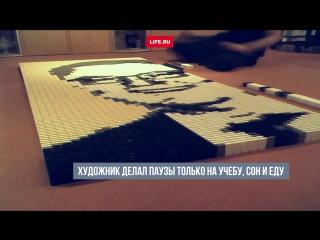 Студент из Нидерландов три дня выкладывал из домино портрет Виталия Чуркина