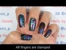 Oil Slick Butterfly Stamping Nail Art. Разноцветный стемпинг. Ажур, вензеля, бабочки