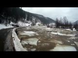 Льодохід на річці Тиса в селі Костилівка, Закарпаття. 03.02.2017