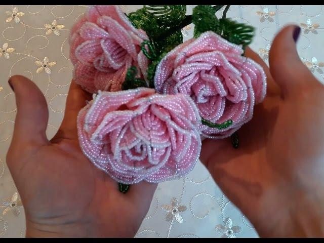 МК Нежные розы из бисера. Часть 2