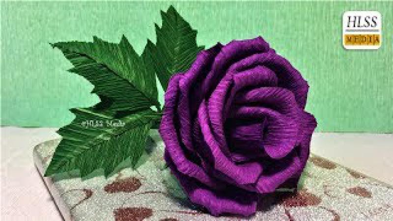 Super easy way to make purple rose paper flower  diy rose crepe paper flower making tutorials