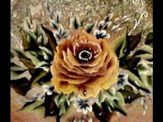 Come dipingere una rosa aperta. Passo a passo. come dipingere su legno