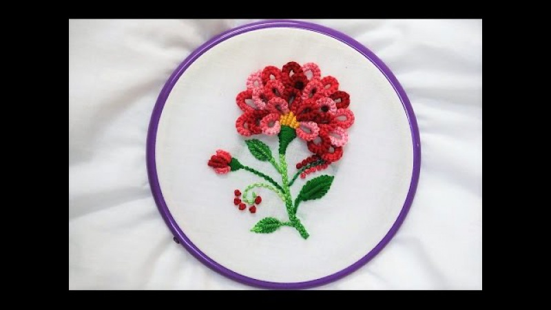 Hand Embroidery Flower with Cast on Knotted Stitch