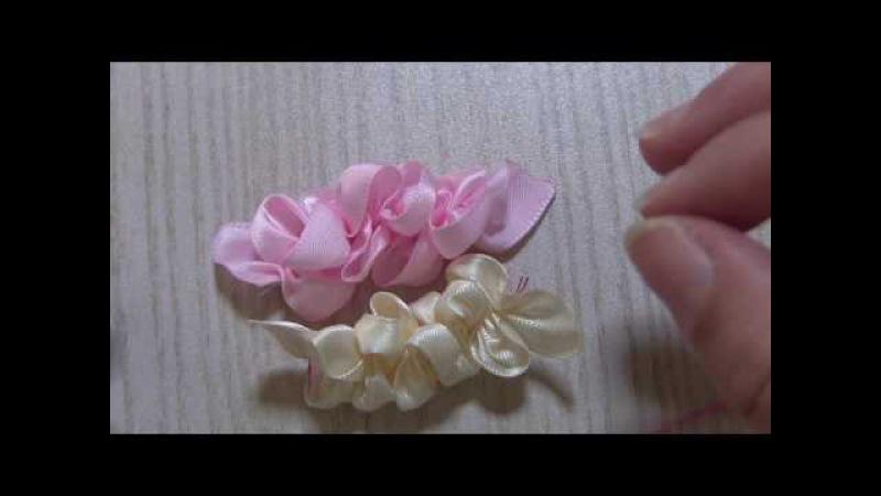 リボンのクシュクシュひらひら お花の作り方