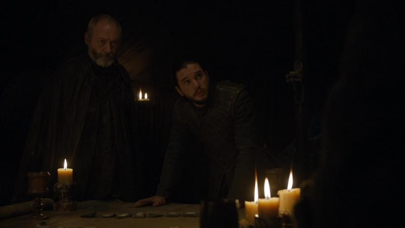 Игра Престолов - Военный совет в лагере Джона Сноу перед Битвой Бастардов. Никто меня не защитит. Никто никого не защитит.