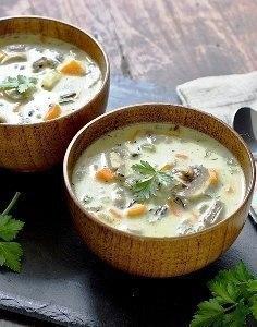 Сливочный суп с рисом и грибами 4 куриных