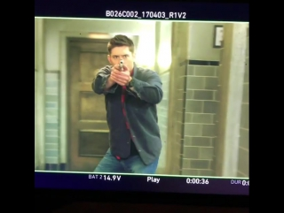 Jensen on set | Just another Monday morning... I love this job! #slowmo #doubletap #spnfamily