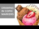 Copic markers speed drawing 7 Рисую маркерами Copic мороженое