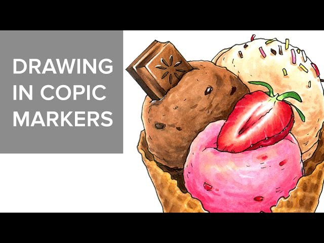 Copic markers speed drawing 7 / Рисую маркерами Copic мороженое
