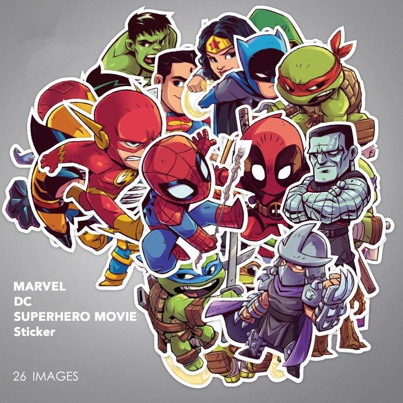 Пак из 26 супергеройских стикеров