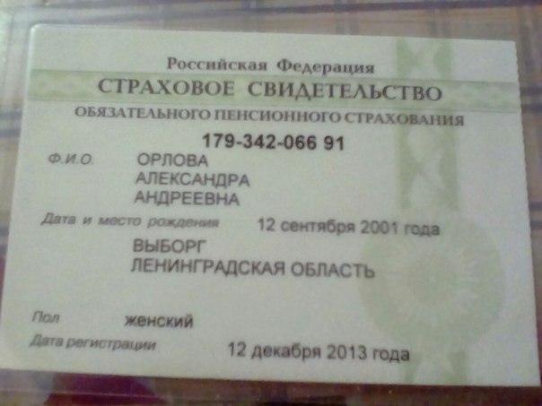 Был найден СНИЛС на имя Орловой Александры Андреевны,напротив бара