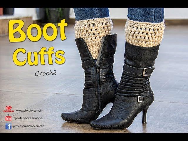 Boot Cuffs de Crochê - Com tabela de Tamanhos- P, M e G - Professora Simone