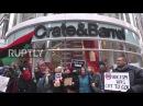 США Анти-полиции жестокость активисты марш в Чикаго на Чёрном Пятницу.