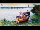 Learn How To Draw Colored A Boat In A Simple Landscape With COLOR PENCILS | Pencil Shading