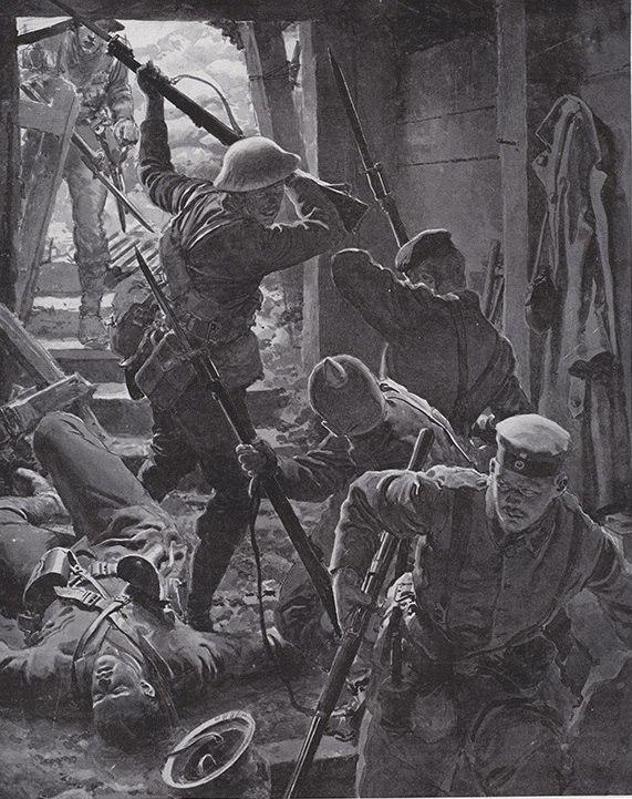 """""""Наступление на Западном Фронте: бой в немецком блиндаже """" Фортунино Матаниа, 1916г"""