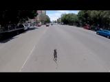Погоня велосипедиста за убежавшей собакой, снятая от первого лица