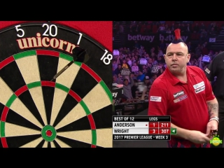 Gary Anderson vs Peter Wright (2017 Premier League Darts / Week 3)
