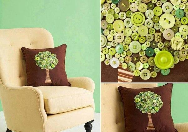 Декоративные подушки пуговицами