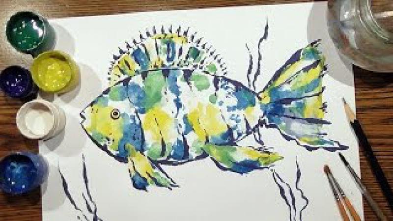 Speed Painting | Fish 1 | Technique Monotype | Gouache | IOTN