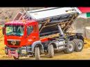 RC trucks excavators in action at RC Glashaus
