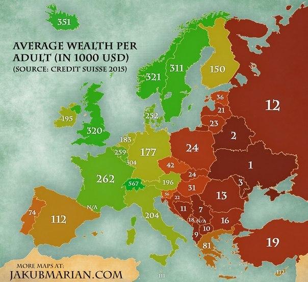 Рейтинг беднейших стран Европы по версии Credit Suisse