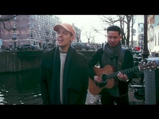 """Leroy sanchez спел песню bruno mars """"versace on the floor"""" на улице амстердама."""