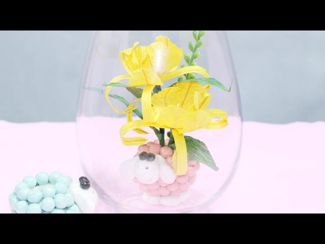 18.2: Làm hoa mật ong bằng giấy nhún - Honey paper flower tutorial
