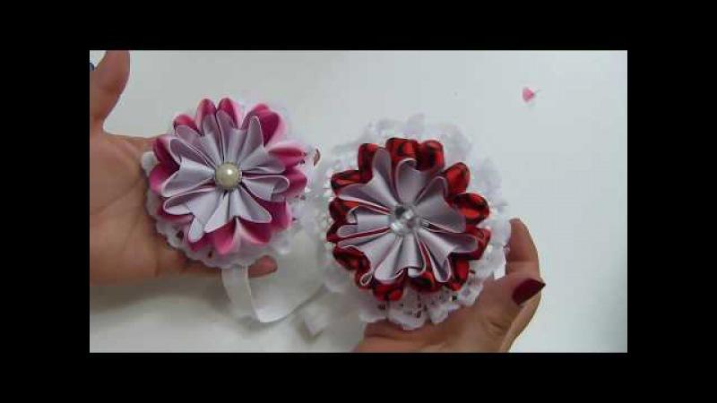 Hermosas Flores pétalos corazon de liston Manualidades para el cabello