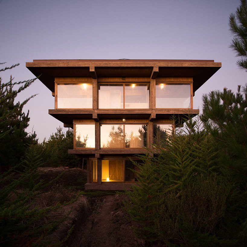 Pezo von Ellrichshausen's Nida house in Chile is stacked like an inverted Ziggurat