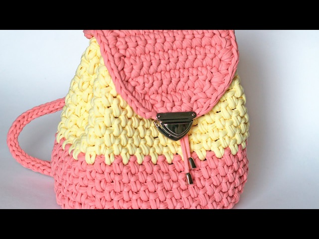 Очень простой рюкзак из трикотажной пряжи Лента (subtitles)