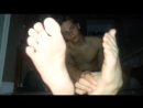 Upclose sweaty teen boy feet
