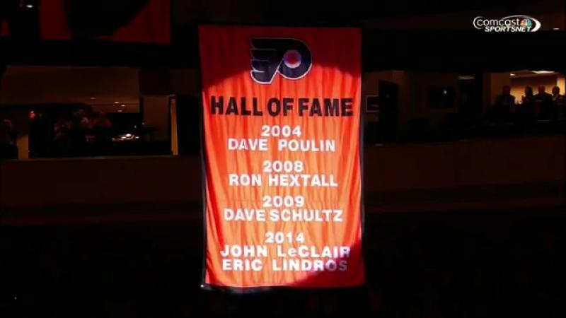 Flyers raise HOF banner for John LeClair and Eric Lindros \ Поднятиие полотнищ ЛеКлера и Линдроса под своды дворца.