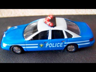 The Blue Police Car chasing   Service Vehicles & Construction Trucks Cartoons for children