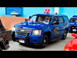 The Blue Police Car Chase in the City   Construction Trucks & Service Vehicles Cartoons for children