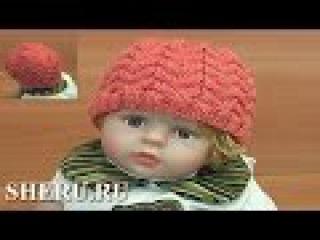 Теплая и уютная детская шапочка спицами Урок 100